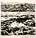 Water Meditation, woodcut on paper